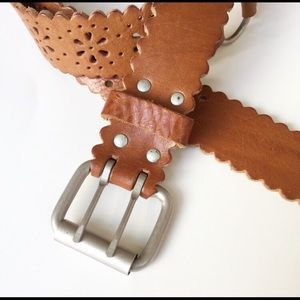 Genuine Leather Laser Cut and metal belt